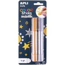 Комплект Apli - 2 стика суха темпера, сребрист + златист -1