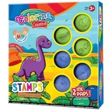 Комплект за оцветяване Colorino Creative - Печати и тампончета Дино -1