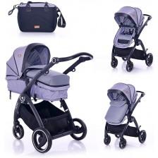 Комбинирана детска количка Lorelli - Adria, Grey -1
