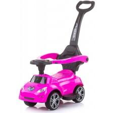 Кола за яздене с дръжка Chipolino - Турбо, розова -1
