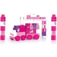 Конструктор Dolu Jumblocks - Влакче, розово, 50 части -1
