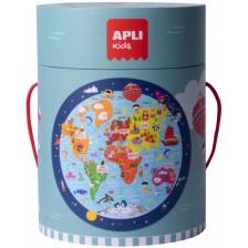 Кръгъл пъзел Apli - Карта на света, 48 части -1