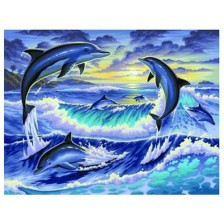Творчески комплект за рисуване KSG Crafts - Изгрев с делфини -1