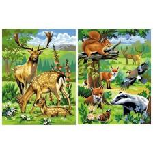 Творчески комплект за рисуване KSG Crafts - Две картини, Диви животни -1