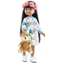 Кукла Paola Reina Amigas - Мейли, с рокля на цветя и лента, 32 cm -1