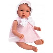 Кукла бебе Asi - Лея, с розова рокля на бели звезди, 46 cm -1