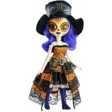 Кукла Paola Reina Catrinas - Джема, със синя коса и рокля с дантела, 34 cm -1