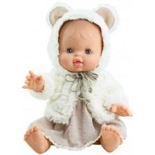 Кукла-бебе Paola Reina Los Gordis - Елви, с рокля и пухкаво наметало, 34 cm -1