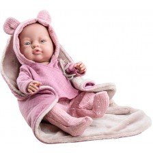 Кукла-бебе Paola Reina Los Bebitos - Bebita, с лилави ританки и горнище с ушички, 45 cm -1