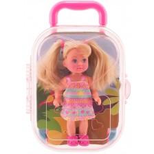 Кукла Simba Toys Evi Love - Еви в куфарче, с шарена рокля -1