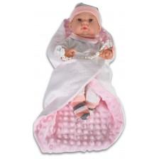 Кукла-бебе Moni - С розово одеялце и шапка на райе, 41 cm -1