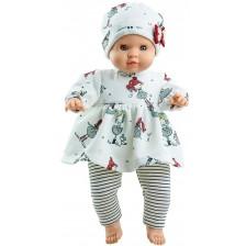 Кукла-бебе Paola Reina Manus - Анжела, с бяла туника на момиченца и шапка, 36 cm -1