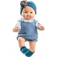 Кукла-бебе Paola Reina Los Gordis - Бланка, със син гащеризон и лента, 34 cm -1