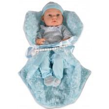 Кукла-бебе Moni - Със сини дрешки и синьо одеялце, 41 cm -1