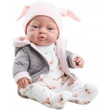 Кукла-бебе Paola Reina Los Bebitos - Bebita, със сиво горнище с качулка и шапка с ушички, 45 cm -1