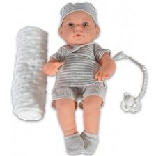 Кукла-бебе Moni - Със сиви дрешки на райе и одеялце, 41 cm -1