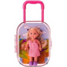 Кукла Simba Toys Evi Love - Еви в куфарче, с розова карирана рокля -1