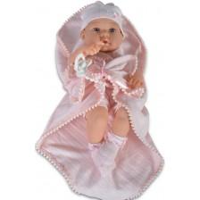 Кукла-бебе Moni - С късо розово боди и розово одеялце, 41 cm -1