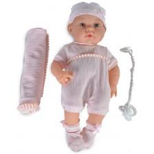 Кукла-бебе Moni - С розово одеялце и розова шапка, 41 cm -1