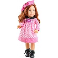 Кукла Paola Reina Soy Tú - Беки, с розовя рокля на квадратчета, 42 cm -1
