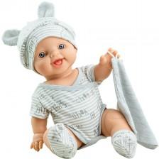 Кукла-бебе Paola Reina Los Gordis - Карлос, със сиво боди и шапка с ушички, 34 cm -1