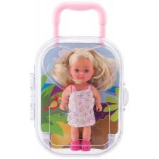 Кукла Simba Toys Evi Love - Еви в куфарче, с бяла рокля на цветчета -1