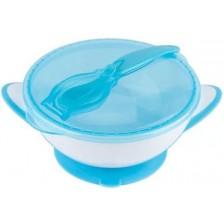 Купа с капак и лъжичка Babyono - 1063/01, синя -1