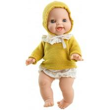 Кукла-бебе Paola Reina Los Gordis - Аник, с плетена блуза с качулка, 34 cm -1
