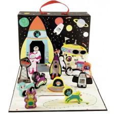 Кутия за игра Floss&Rock - Космос, с дървени фигурки -1