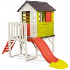 Детска къща за градината Smoby - С веранда и пързалка -1