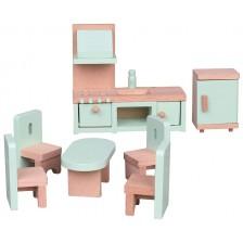 Комплект дървени мини мебели Lelin - Кухня, 7 части -1