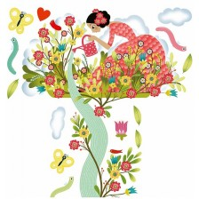 Djeco Стикер - Метър Girl In The Garden -1