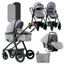 Комбинирана детска количка Lorelli - Alexa Set, Dark Grey Lighthouse -1