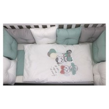 Луксозен спален комплект Bambino Casa - Pillows verde, 12 части -1