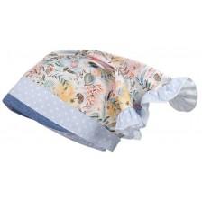 Лятна шапка-кърпа Maximo, размер 51, синя с цветя -1