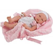 Кукла Asi - Бебе Мария, с бяло гащеризонче и розово одеяло -1