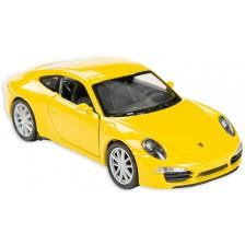 Метална количка Toi Toys Welly - Porsche Carrera, жълта -1