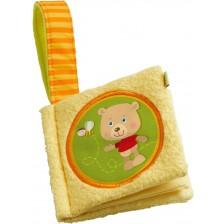 Мека бебешка книжка Haba - Мече, Жълта -1