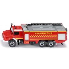 Метална количка Siku Super - Пожарникарски камион Mercedes-Benz Zetros, 1:50 -1