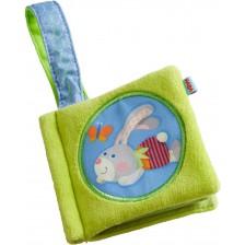 Мека бебешка книжка Haba - Заек, Зелена -1