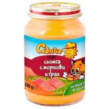Месно-зеленчуково пюре Слънчо - Сьомга с моркови и грах, 190 g