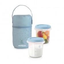 Комплект контейнери Miniland - Pack-2-go, светлосини -1