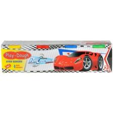 Мини моделин в 4 цвята Heroes Play Dough - Количка -1