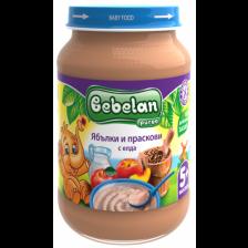 Млечна каша Bebelan Puree - Ябълки и праскови с елда, 190 g