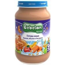 Млечна каша Bebelan Puree - Банан, ябълки и бисквити, 190 g -1