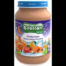 Млечна каша Bebelan Puree - Ябълки, круши и бисквити, 190 g -1