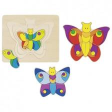 Многослоен детски пъзел Goki - Пеперуда -1