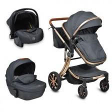 Комбинирана детска количка 3в1 Moni - Polly, Черна -1