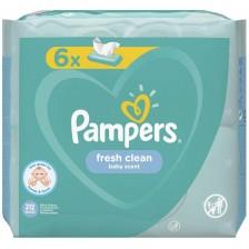 Мокри кърпички Pampers - Fresh Clean, 6 x 52 броя -1