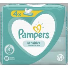 Мокри кърпички Pampers - Sensitive, 4 x 52 броя  -1